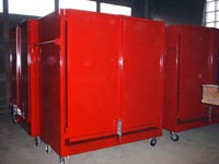 Red metal cabinets